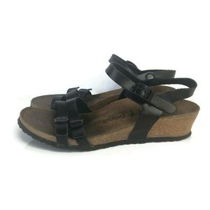 Papillio Birkenstock Lana Black Leather Thin Strap
